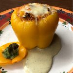 Roasted Stuffed Yellow Bell Pepper