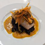 Halibut with Corn Relish and Black Rice